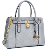Dasein Padlock Satchel with Shoulder Strap - Grey