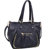 Classic Fashion Shoulder Bag with Gold Infused Accents - Black