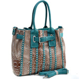 Belted Metallic Croco Fashion Tote Bag Striped with Rhinestones - Teal