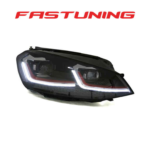 Helix MK7.5 GTI Style Red Stripe LED Headlights VW MK7 Golf/GTI - FAS Tuning