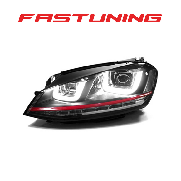 Helix MK7 GTI Style Red Stripe LED Headlights VW MK7 Golf/GTI - FAS Tuning