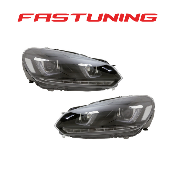 Helix MK7 Style Black Stripe Sequential Turn LED Headlights VW MK6 Golf/GTI - FAS Tuning