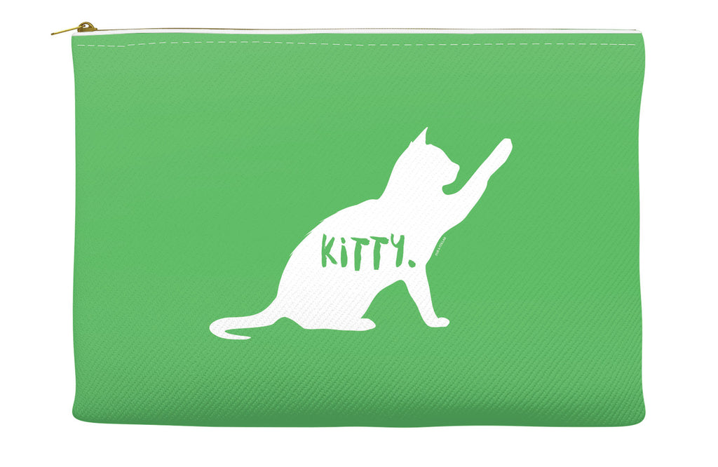 Green Kitty Accessory Pouch