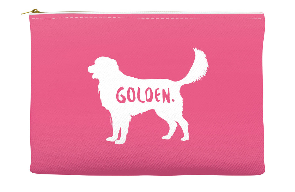 Pink Golden Retriever Accessory Pouch