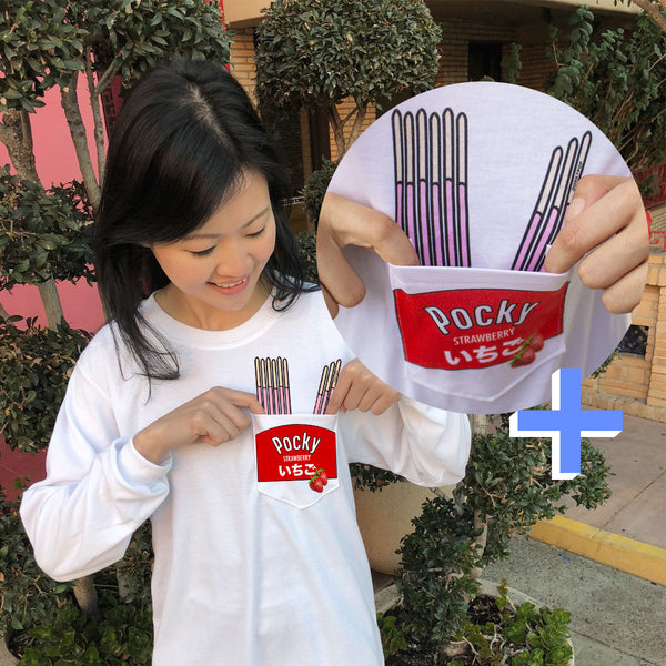 Strawberry Pocky Pocket Tee (Long Sleeve) - DORKYPOP