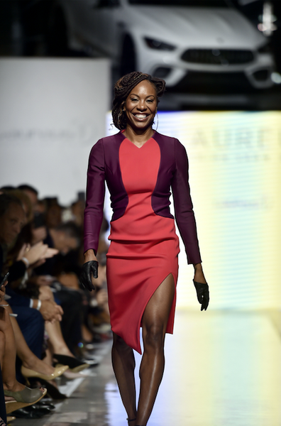 Gold Medal Winning Runner, 4 time Olympic Champion Sanya Richards-Ross wears Mimi Plange on the Laureus Runway and Mercedes Benz Fashion