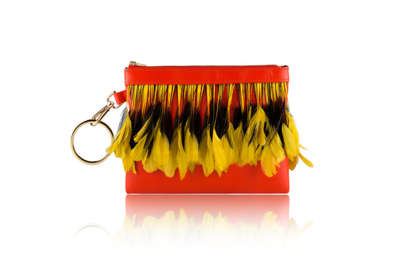 Tangerine Multi Feather Clutch - Mimi Plange