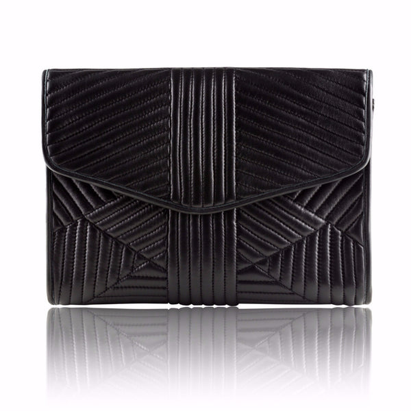 Black Quilted Leather Clutch - Mimi Plange - 1