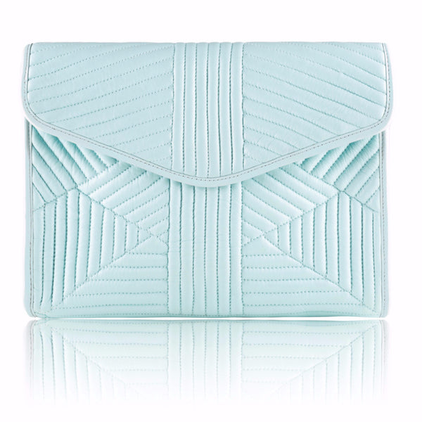 Seafoam Quilted Leather Clutch - Mimi Plange - 1