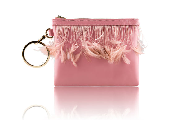 Flamingo Pink Feather Clutch - Mimi Plange