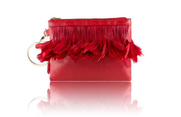 Red Feather Clutch - Mimi Plange