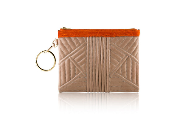 Mini Elephant Grey Trapunto Quilted Clutch - Mimi Plange