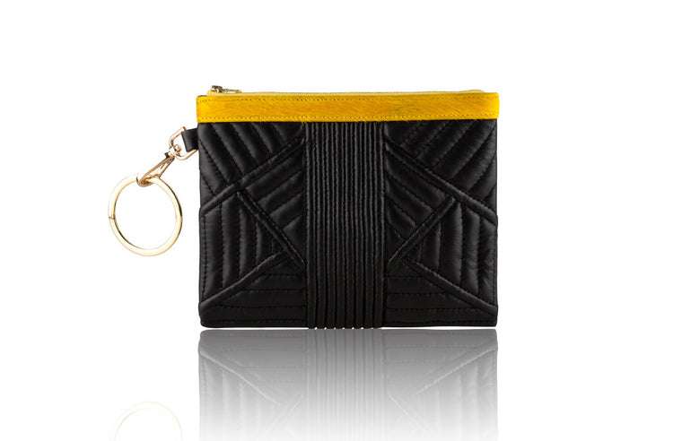 Mini Black Trapunto Quilted Clutch - Mimi Plange