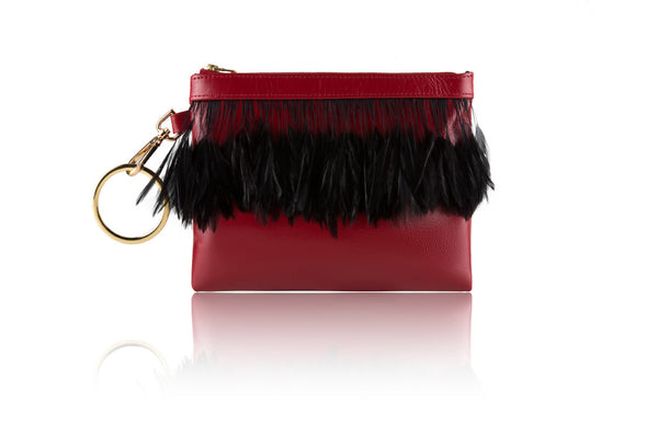Scarlet Red Clutch with Contrast Feathers - Mimi Plange