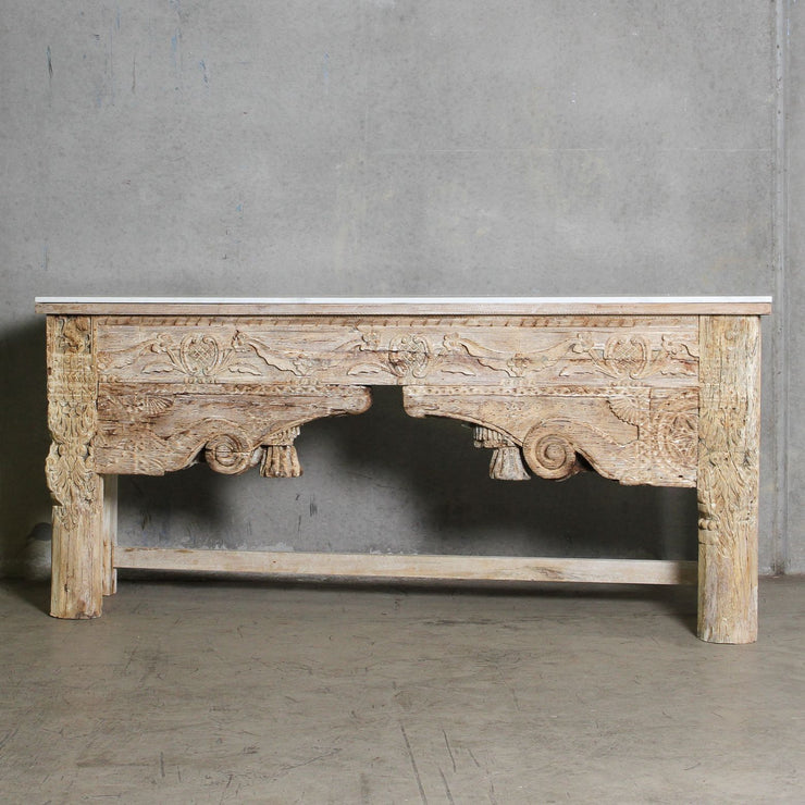 IFU0720-061 Indian Old Panel Console with Marble Top
