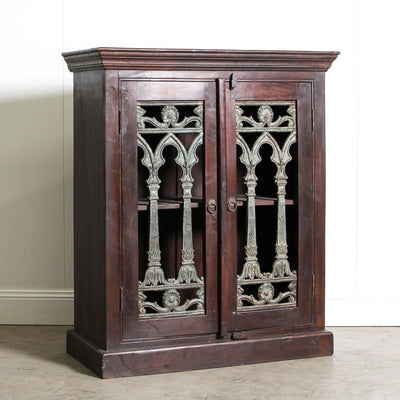 IFU0720-003 Indian Cabinet with Glass and Iron Detail