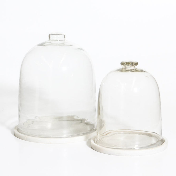IDE0121-02 Glass Dome with Marble Base - Small