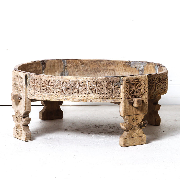 IDE0818-18 B Indian Grinder Table - Bleached
