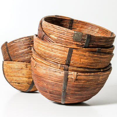 IDE1119-07 Vintage Indian Bamboo Basket