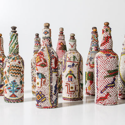 IDE1119-31 Beaded Glass Bottle