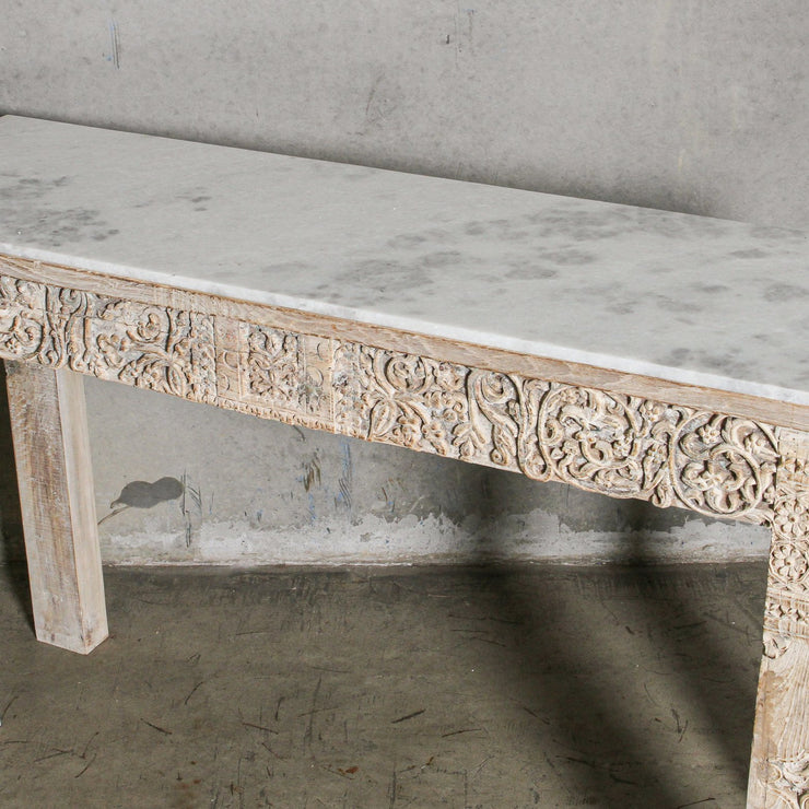 IFU0221-01 Vintage Indian Console with Marble Top