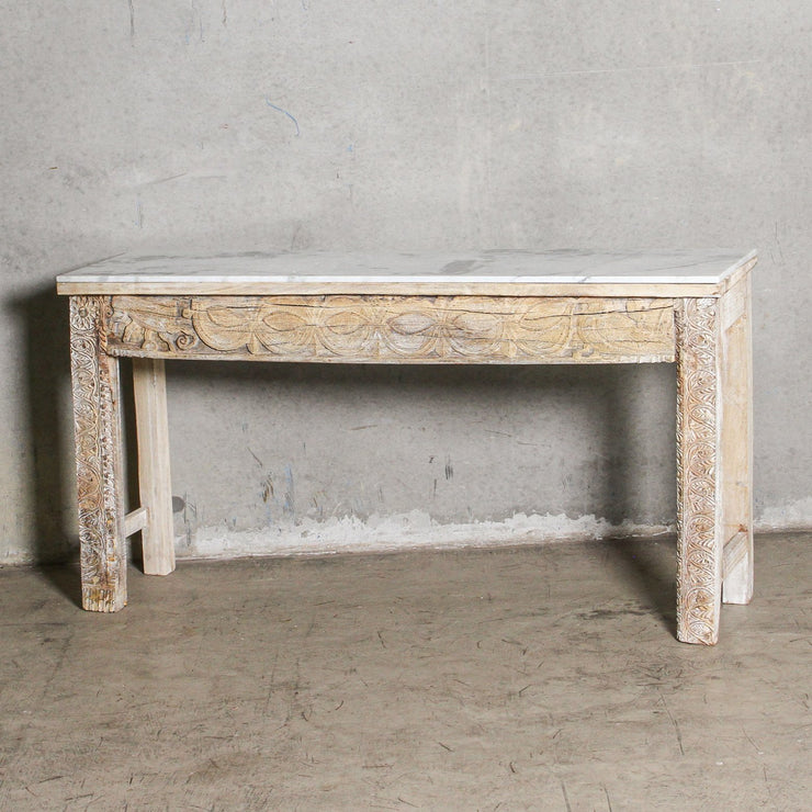 IFU0221-09 Vintage Indian Console with Marble Top