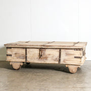 IFU0320-55 Vintage Indian Chest Coffee Table with Wheels