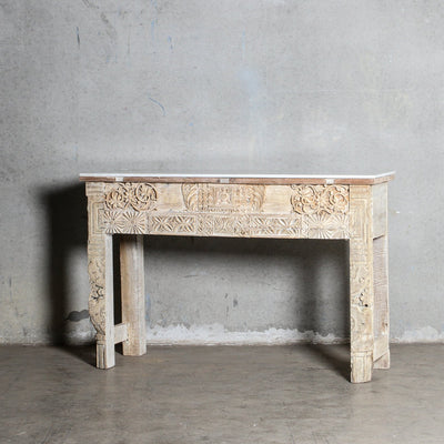 IFU0321-51 Vintage Indian Console with Marble Top