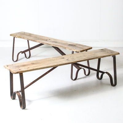 IFU0619-79 Vintage Indian Wood & Iron Bench