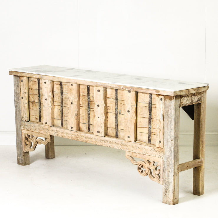 IFU0819-56 Indian Old Panel Console with Marble Top