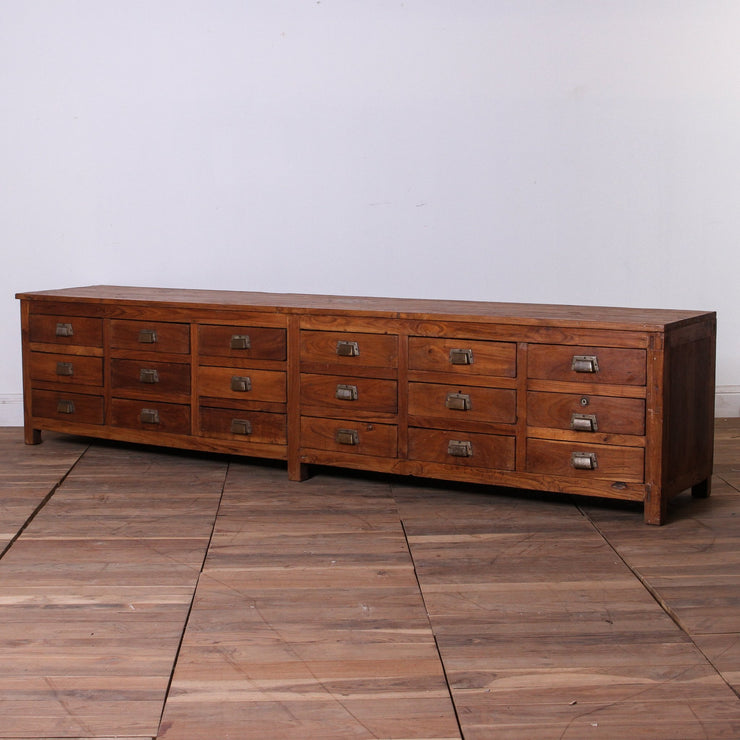 IFU0917-52 Vintage Indian 18 Drawer Sideboard