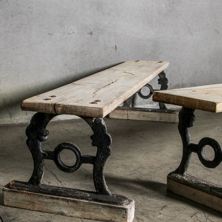 IFU0920-19 Vintage Indian Wood & Iron Bench
