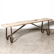 IFU1119-19 Vintage Indian Wood & Iron Bench