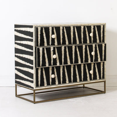 Mandika Bone Inlay Chest on Brass Legs
