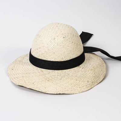 Nico Palm Leaf w/ Fabric Trim Hat