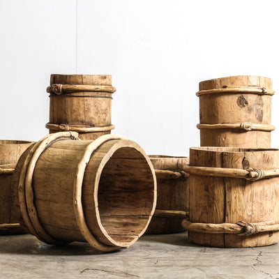 CDE1019-02 Chinese Vintage Wine Barrel - Tall