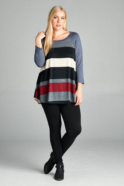 Striped Colour Block Tunic Plus