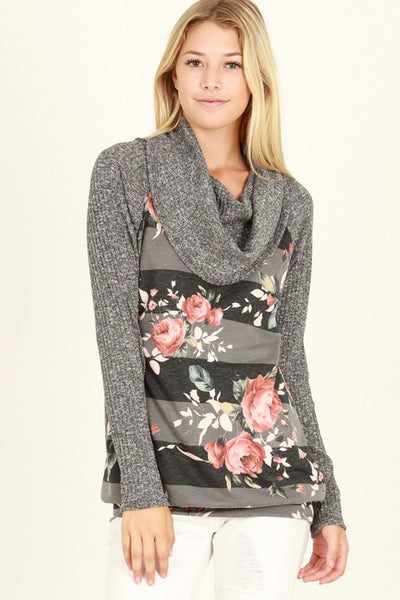 Cowl Neck Floral Print Pullover Sweater