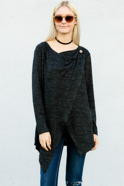 Charcoal Crossover Sweater