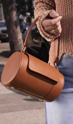 Brooke Faux Leather Bag in Saddle