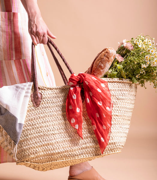 Leather Handle Picnic Basket