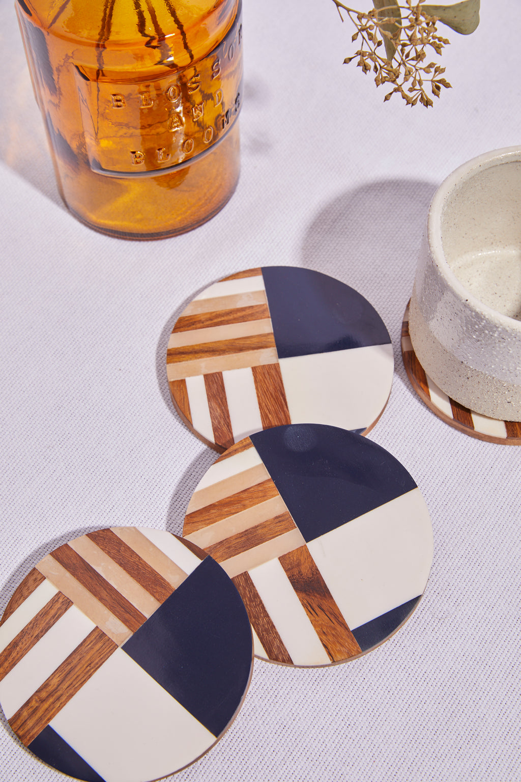 Round Resin and Wood Geometric Coasters - picnic-sf