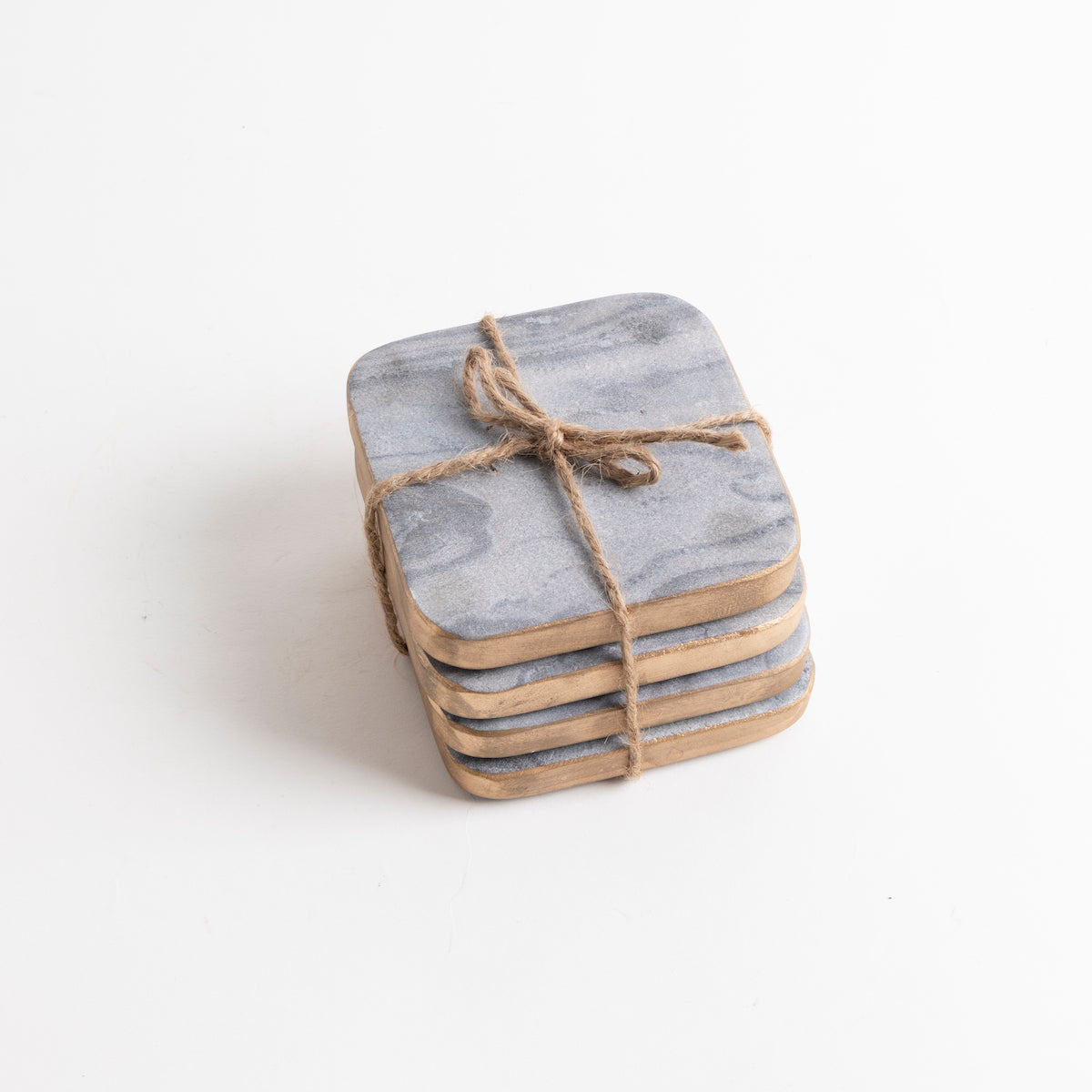 Grey with Gold Edge Square Marble Coasters- PICNIC SF