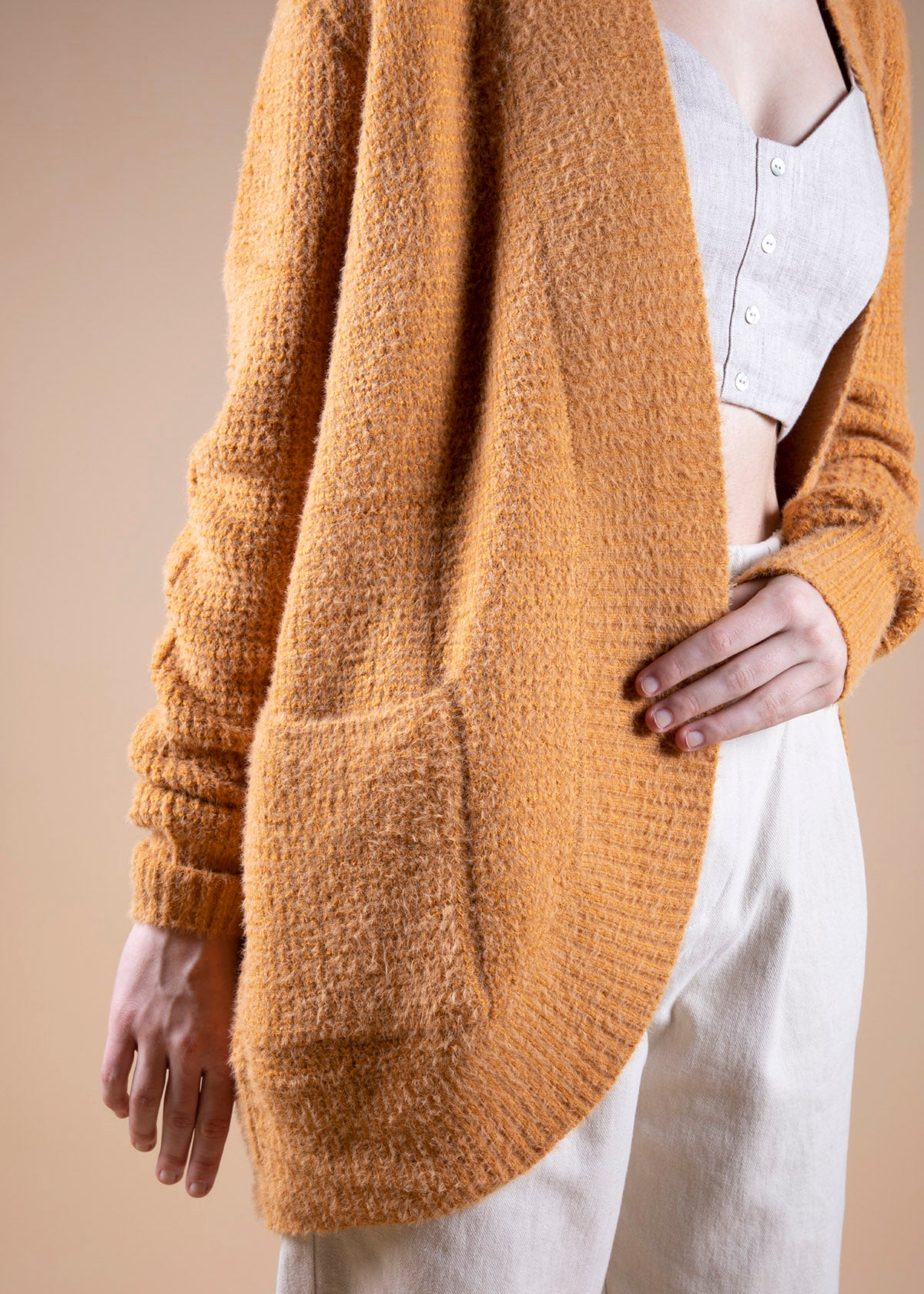 Waffle Open Front Cardigan - Picnic SF