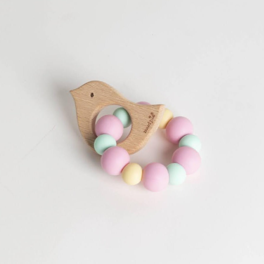 Pink Chick Wood & Silicone Teether- Picnic SF