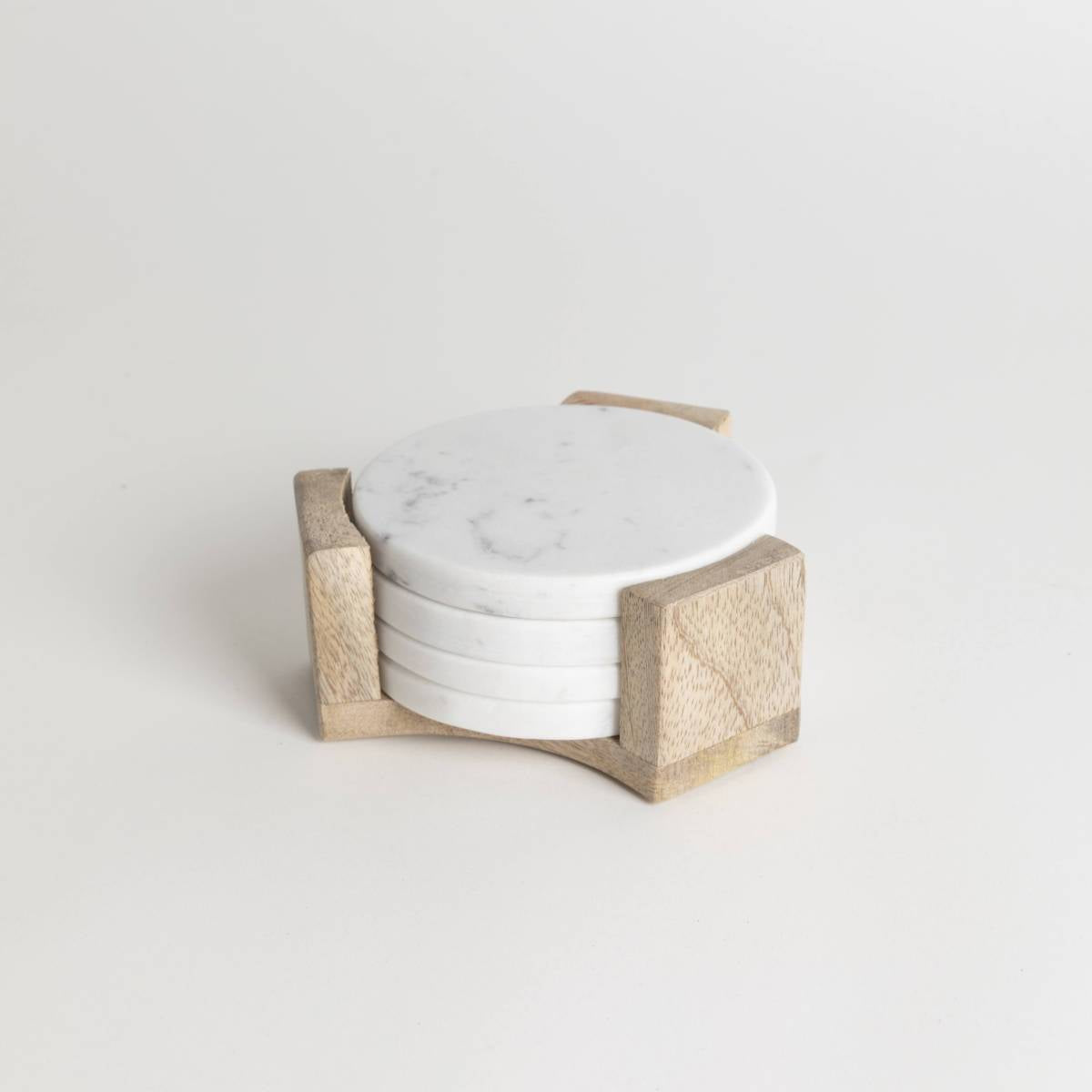 Marble Coasters with wood holder set- PICNIC SF