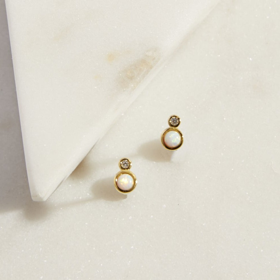 Double Circle Opal Studs - picnic-sf