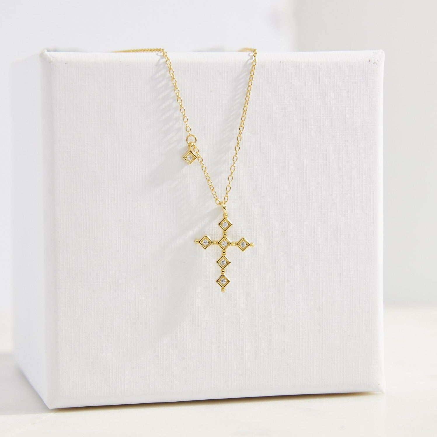 Clear CZ Cross Necklace - picnic-sf