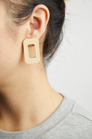Beige Wooden Rectangular Earrings - picnic-sf