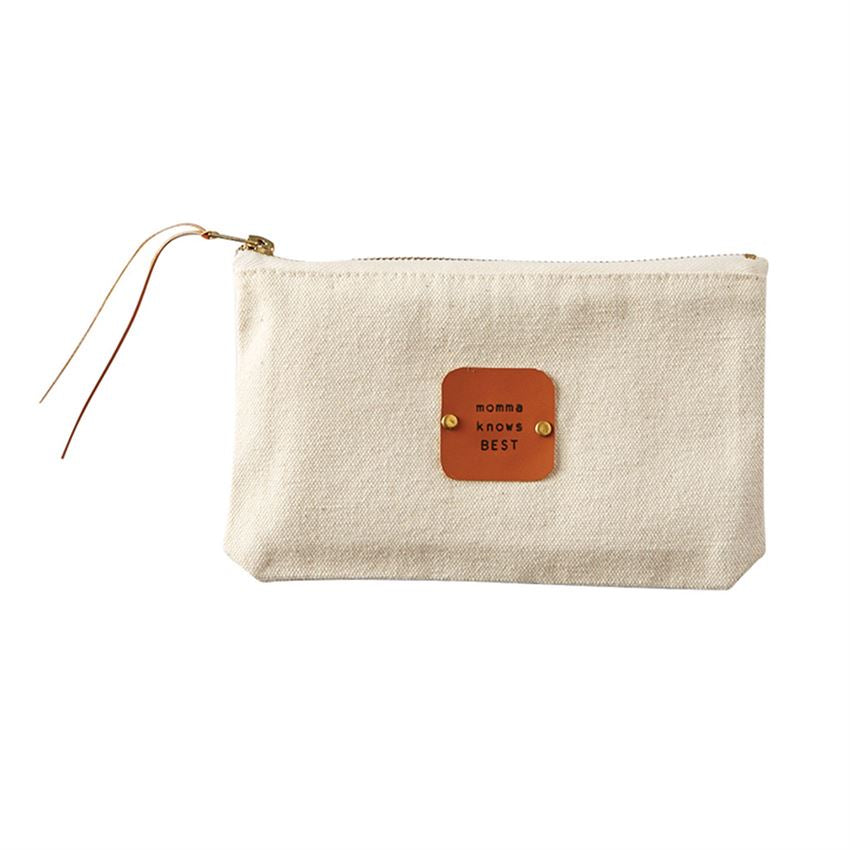 Momma Knows Best Canvas & Leather Pouch -Picnic-sf